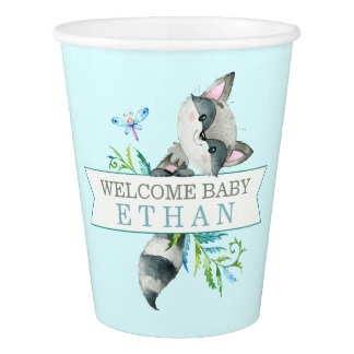 Woodland Raccoon Cute Personalized Paper Cup