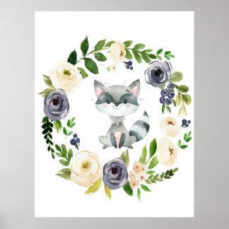 Woodland raccoon navy floral nursery print