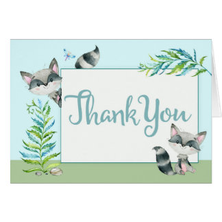 Woodland Raccoon Thank You with Photo | Card