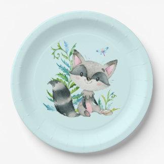 Woodland Raccoon Whimsical Aqua Paper Plate
