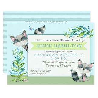 Woodland Raccoon Whimsical Baby Shower Card