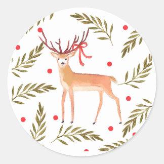 Woodland Reindeer Happy Holidays Classic Round Sticker