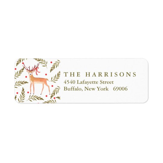 Woodland Reindeer Happy Holidays Personalised Return Address Label