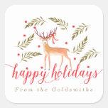Woodland Reindeer Happy Holidays Personalised Square Sticker