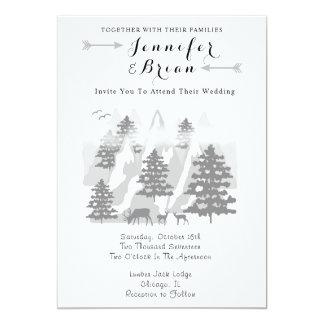 Woodland Rustic Deer Mountain Wedding Invitation