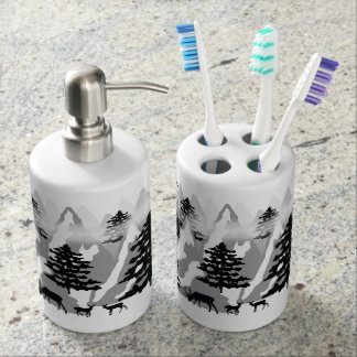 Woodland Rustic Deer Winter Mountain Forest Trees Bathroom Set