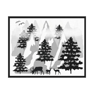 Woodland Rustic Deer Winter Mountain Forest Trees Canvas Print