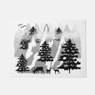Woodland Rustic Deer Winter Mountain Forest Trees Doormat