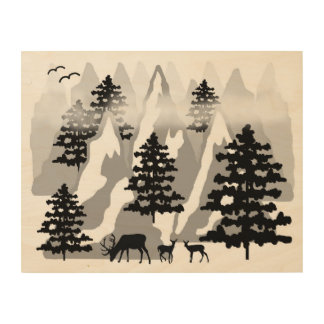 Woodland Rustic Deer Winter Mountain Forest Trees Wood Wall Art