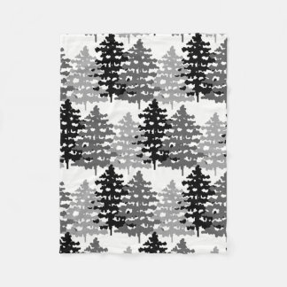 Woodland Rustic Forest Pine Trees Winter Holiday Fleece Blanket