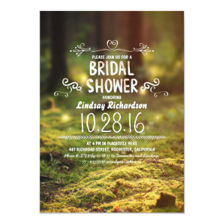 woodland  rustic outdoor bridal shower invites