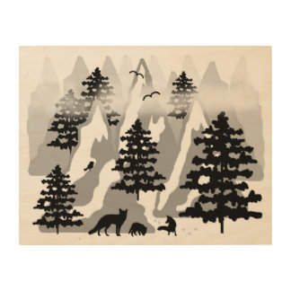 Woodland Rustic Tree Mountain Animal Fox Nursery Wood Print