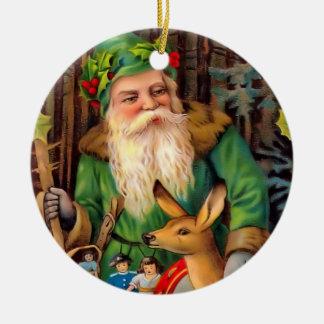 Woodland Santa Vintage Christmas Ornament