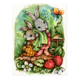Woodland Siblings - Cute Animal Art Postcard