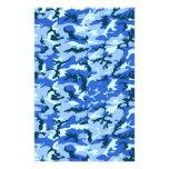 Woodland Sky Blue Camouflage Custom Stationery