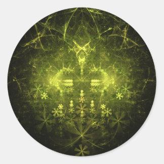 Woodland Spirit. Green & Black Fractal. Classic Round Sticker