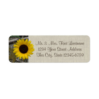 Woodland Sunflower and Burlap Return Address Label