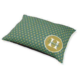 Woodland Teal and Tan Polka Dot Monogram Pet Bed