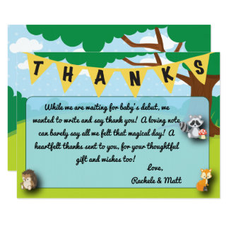 Woodland theme baby shower thank you card custom!
