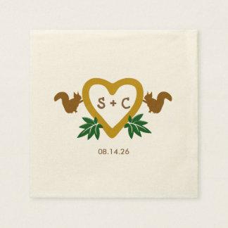 Woodland Theme Personalized Wedding Napkins Disposable Serviettes