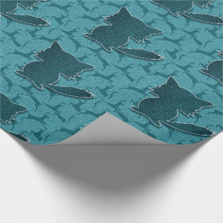 Woodland Theme with Fox in Deep Turquoise Blue Wrapping Paper