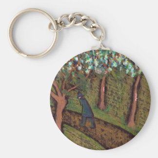 woodland walk digitally altered basic round button key ring