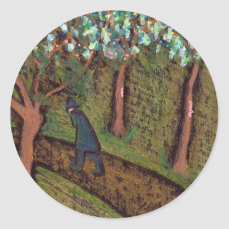 woodland walk digitally altered round sticker