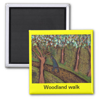 woodland walk digitally altered square magnet