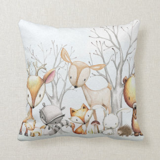 Woodland Watercolor Animal Baby Kid Nursery Pillow