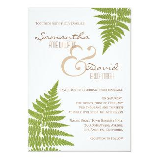 """Woodland Wedding Fern Invitation 5"""" X 7"""" Invitation Card"""