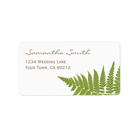 Woodland Wedding Fern Label