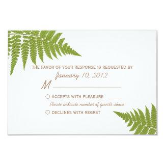 """Woodland Wedding Fern RSVP 3.5"""" X 5"""" Invitation Card"""