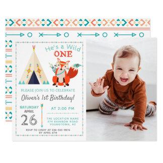 Woodland Wild One Fox Boho Boy 1st Birthday Photo Card