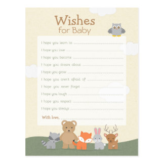 "Woodland ""Wishes For Baby"" Postcard"