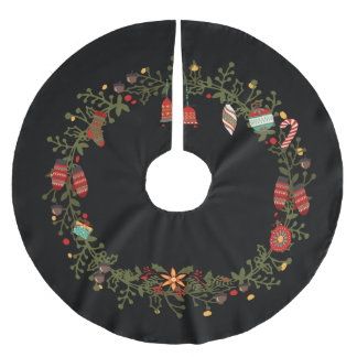 Woodland Wreath Design - Christmas Tree Skirt Brushed Polyester Tree Skirt