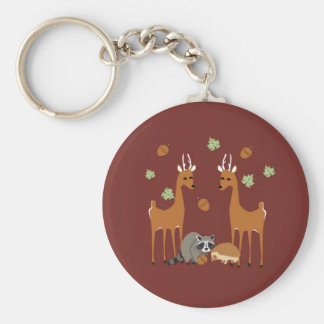 Woodlands forest scene animal friends keychain