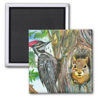 Woodpecker And Squirrel Magnet