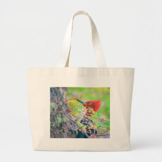 Woodpecker at Forest Pecking Large Tote Bag
