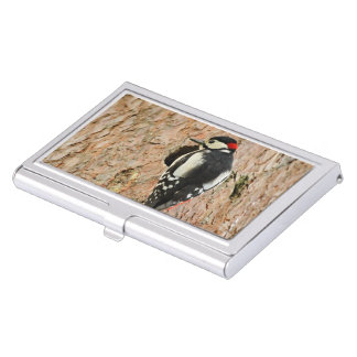 woodpecker on his tree business card holder