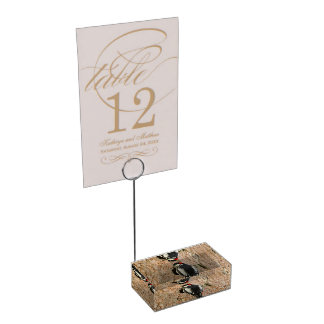 woodpecker on his tree table card holder