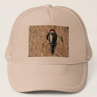 woodpecker on his tree trucker hat
