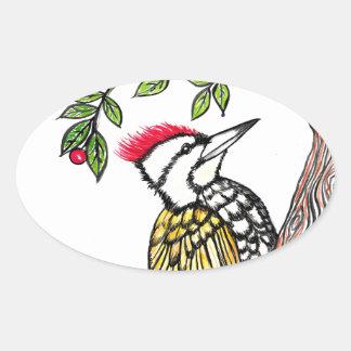 Woodpecker Oval Sticker
