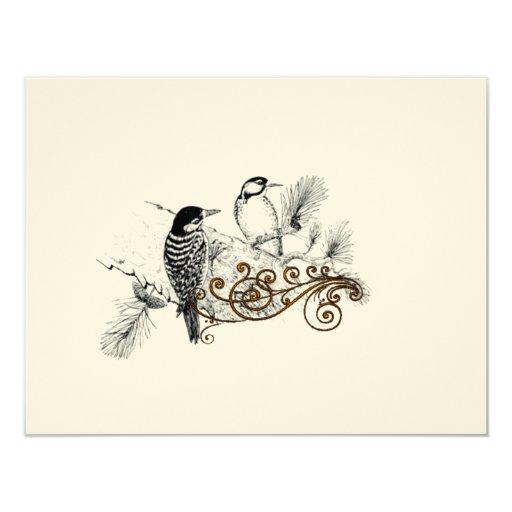 Woodpeckers Vintage Love Birds Wedding RSVP 11 Cm X 14 Cm Invitation Card