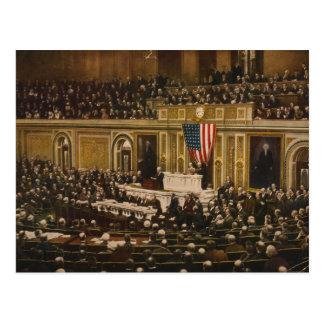 Woodrow Wilson asking Congress to Declare War Postcard