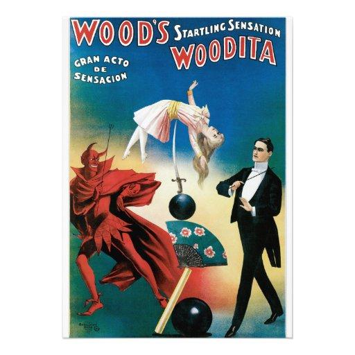 Wood's Startling Sensation Vintage Magician Invite