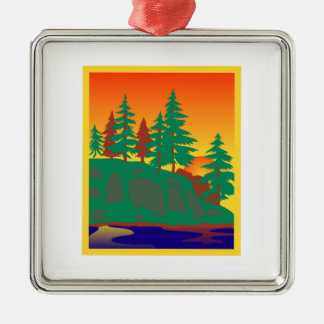 Woods & Water Scene Silver-Colored Square Decoration