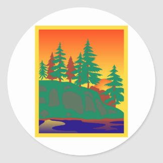 Woods & Water Scene Round Sticker