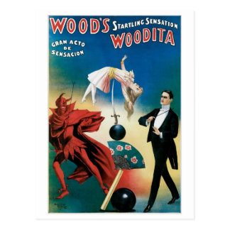 Wood's ~ Woodita Magician Vintage Magic Act Postcard