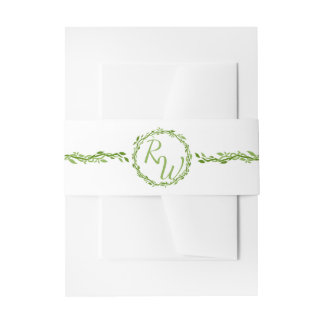 Woodsy Elegance | Wedding Vine Green And White Invitation Belly Band