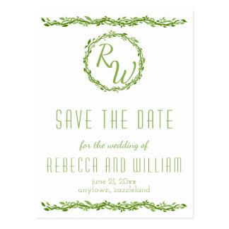 Woodsy Elegance | Wedding Vine Save The Date Postcard
